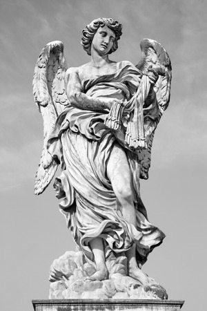 guar: ROME ITALY  MARCH 27 2015: Angel with the whips  Ponte SantAngelo  Angels bridge  designed by Lazzaro Morelli