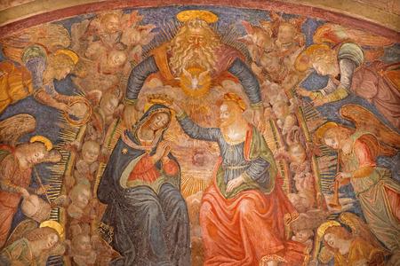 coronation: ROME ITALY  MARCH 27 2015:The Coronation of Virgin Mary fresco in church San Pietro in Montorio Baldassarre Peruzzi from 16. cent. Editorial