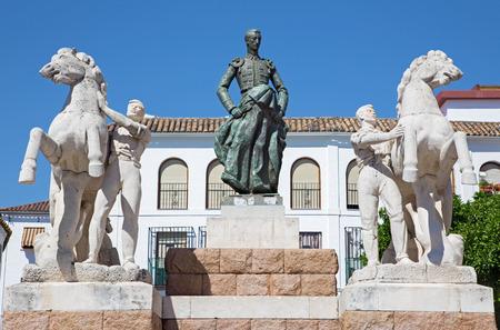 conde: Cordoba - The memorial to Manolete on Plaza del Conde de Priego square by sculptors by Luis Moya and Manuel Alvarez Laviada (1956). Editorial