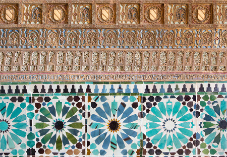 mudejar: CORDOBA, SPAIN - MAY 26, 2015: The detail of mudejar stucco and tiling in Capilla San Bartolome chapel. Editorial