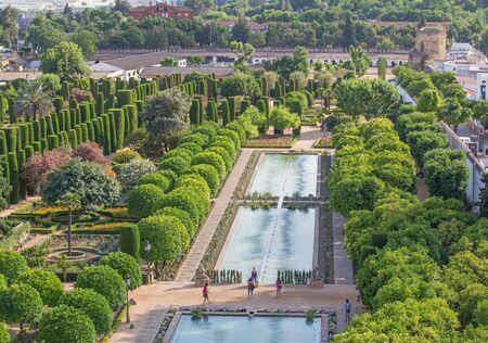 alcazar: CORDOBA, SPAIN - MAY 25, 2015: The gardens of palace Alcazar de los Reyes Cristianos. Editorial
