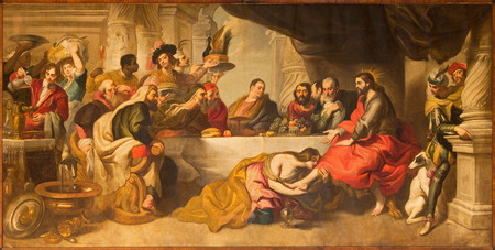 penitence: MALAGA, SPAIN - MAY 31, 2015: The supper of Jesus by Simon the Pharisee in Cathedral by Miguel Manrique from 17. cent. Editorial