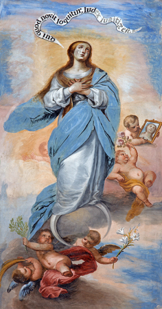 GRANADA, SPAIN - MAY 29, 2015: The baroque fresco of Immaculate Conception in nave of church Monasterio de San Jeronimo by Juan de Medina from 18.cent.