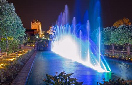 alcazar: CORDOBA, SPAIN - MAY 25, 2015: The fountains show in the gardens of Alcazar de los Reyes Cristianos castle at night.
