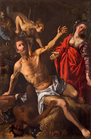 good evil: GRANADA, SPAIN - MAY 29, 2015: The paint of symbolic battle of the soul with the demons in church Iglesia de los santos Justo y Pastor by unknown artist.