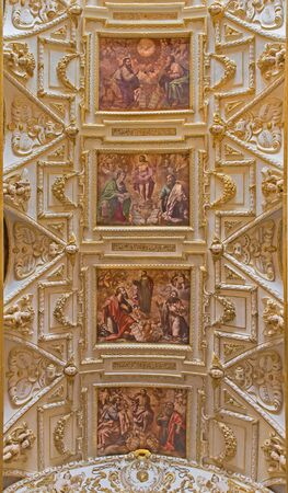 san agustin: CORDOBA, SPAIN - MAY 31, 2015: The ceiling of main nave in church Iglesia de San Agustin with the frescos by Cristobal Vela (1588-1654).