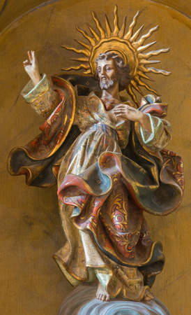 polychrome: CORDOBA, SPAIN - MAY 26, 2015: The baroque carved and polychrome statue of Heart of Jesus Christ in church of Monastery of st. Ann and st.Joseph (Convento de Santa Ana y San Jose).