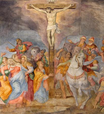 affiliation: ROME, ITALY - MARCH 25, 2015: The detail of Crucifixion fresco in church Chiesa San Marcello al Corso by G. B. Ricci (1613).