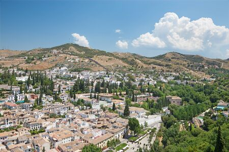 the  alhambra: Granada - The outlook over the Albayzin district from Alhambra fortress.