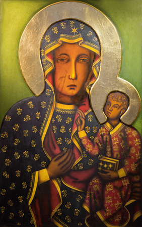 TEL AVIV, ISRAEL - MARCH 2, 2015: The Icon of black Madonna  from st. Peters church in old Jaffa by unknown artist from end of 19. cent.