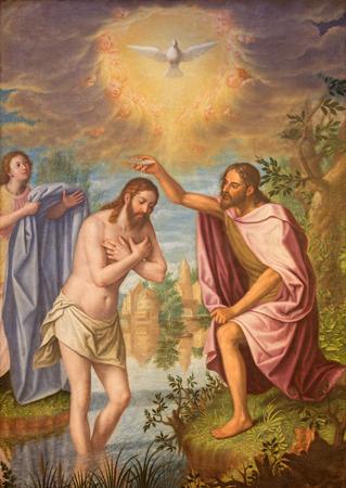 GRANADA, SPAIN - MAY 31, 2015: The Baptism of Christ painting in main nave of church Monasterio de la Cartuja  by Fray Juan Sanchez Cotan (1560 - 1627).