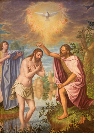 GRANADA, SPAIN - MAY 31, 2015: The Baptism of Christ painting in main nave of church Monasterio de la Cartuja  by Fray Juan Sanchez Cotan (1560 - 1627).