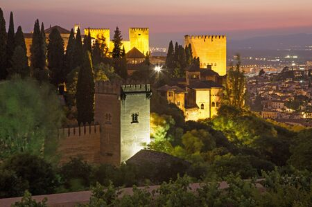 outlook: Granada - The outlook over the Alhambra and the town from Generalife gardens at dusk Editorial