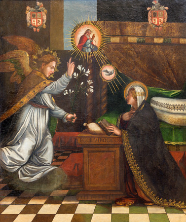gabriel: GRANADA, SPAIN - MAY 31, 2015: The painting of Annunciation in church Monasterio de la Cartuja by unknown artist in Sala Capitular. Editorial