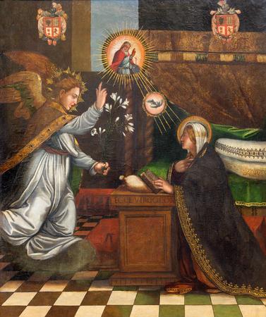 gabriel: GRANADA, SPAIN - MAY 31, 2015: The painting of Annunciation in church Monasterio de la Cartuja by unknown artist in Sala Capitular. Editorial
