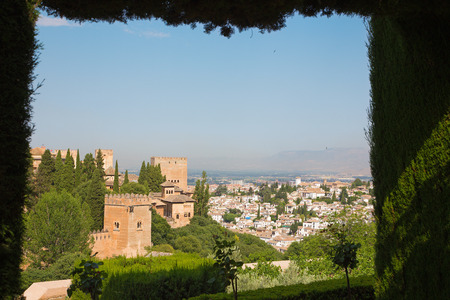 outlook: Granada - The outlook over the Alhambra from Generalife gardens.