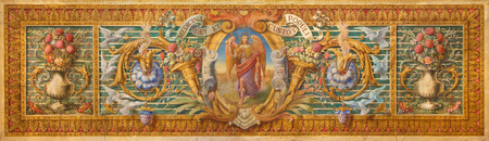 san rafael: CORDOBA, SPAIN - MAY 27, 2015: The detil from baroque paint on the altar in Basilica del Juramento de San Rafael with the floral motive and archangel Raphael in the centre by unknown artist.