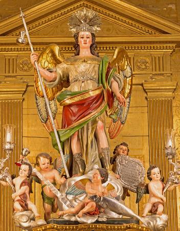 san rafael: CORDOBA, SPAIN - MAY 27, 2015: The statue of archangel Raphael on the main altar in Basilica del Juramento de San Rafael by sculptor Alfonso Gomez de Sandoval from 18. cent. Editorial