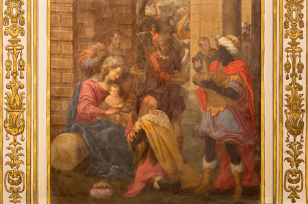adoration: CORDOBA, SPAIN - MAY 31, 2015: The Adoration of Magi fresco in church Iglesia de San Agustin by Cristobal Vela (1588-1654).