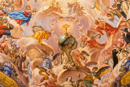 GRANADA, SPAIN - MAY 31, 2015: The detail of fresco in baroque sanctuary (Sancta Sanctorum) in church Monasterio de la Cartuja with St. Bruno and glory of Eucharist by Palomino (early of 18. cent.)