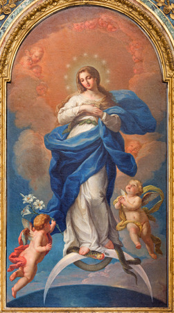 ROME, ITALY - MARCH 25, 2015: The Immaculate Conception paint by Francesco Preciado de La Vega (1750) in the church Chiesa della Santissima Trinita degli Spanoli - Trinitarian order.