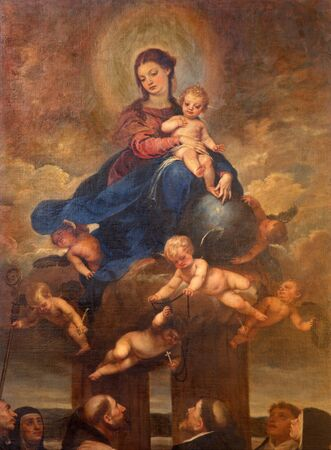cano: MALAGA, SPAIN - MAY 31, 2015: The Madonna (The Virgin of the Rosary) painting by Alonso Cano from 17. cent. in Cathedral.