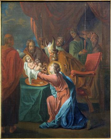 jacob: BRUGGE, BELGIUM - JUNE 12, 2014: The Presentation of Jesus in the Temple paint by Jan van den Kerckhove 1707 in st. Jocobs church (Jakobskerk)