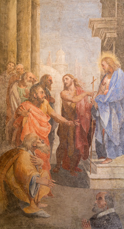 disciples: ROME, ITALY - MARCH 27, 2015:The fresco as The John the baptist shows the Christ  by  Leonardo Milanese from 16. cent. in St. John the Baptist chapel of church San Pietro in Montorio.
