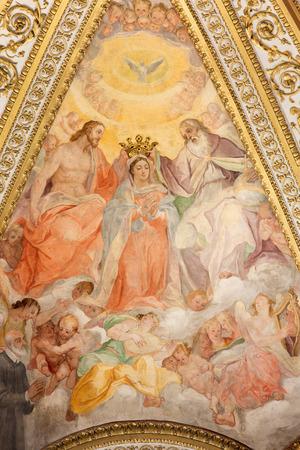 coronation: ROME, ITALY - MARCH 25, 2015: The fresco in side apse of church Chiesa San Marcello al Corso by Francesco Salviati (1563). The Coronation, Dormition and Assumption of Virgin Mary. Editorial