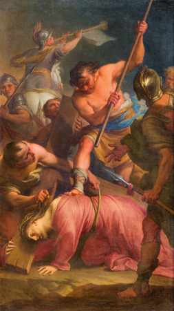 trinita: ROME, ITALY - MARCH 25, 2015: The Paint of The Fall of Jesus under cross by Andrea Casali (1777)  in the church Chiesa della Santissima Trinita degli Spanoli - Trinitarian order.