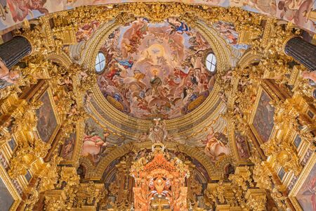 palomino: GRANADA, SPAIN - MAY 31, 2015: The baroque sanctuary (Sancta Sanctorum) in church Monasterio de la Cartuja with the fresco of St. Bruno and the glory of Eucharist by Palomino (early of 18. cent.)