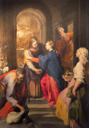 visitation: ROME, ITALY - MARCH 26, 2015: The paint of Visitation by Federico Barocci (1528 - 1612) in baroque church Chiesa Nuova (Santa Maria in Vallicella). Editorial
