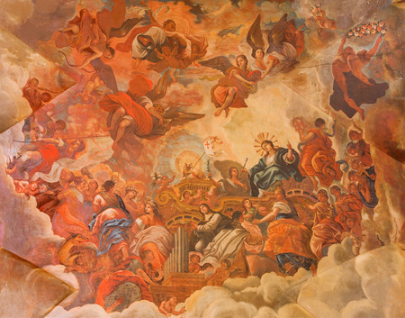 lamb of god: GRANADA, SPAIN - MAY 29, 2015: The ceiling fresco displays the Glory of lamb of God in Basilica San Juan de Dios by Diego Sanchez Sarabia from second part of 18. cent.