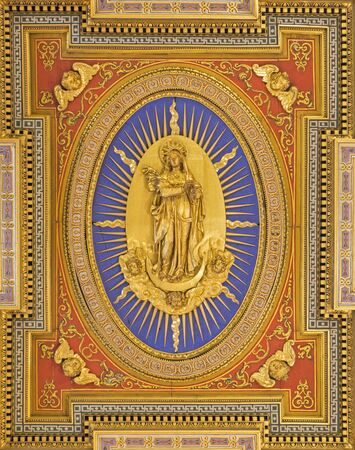 ROME, ITALY - MARCH 25, 2015: The Immaculate Conception as the central motive on flat coffered wooden ceiling (1592 - 1594) in church Chiesa San Marcello al Corso designed by Carlo Francesco Lambardi. Redakční