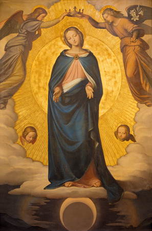 trinita: ROME, ITALY - MARCH 25, 2015: The Immaculate Conception paint by Phillip Veit (1830) in church Chiesa della Trinita dei Monti. Editorial