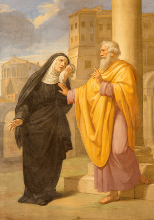 ROME, ITALY - MARCH 27, 2015: The fresco of st. Augustine and his mother st. Monica in Basilica di Sant Agostino (Augustine) by  by Pietro Gagliardi form 19. cent. Imagens - 42008867