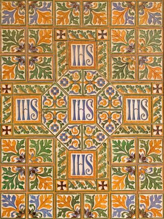 nave: ROME, ITALY - MARCH 24, 2015: The tiled cross on the walls of main nave of anglicans church Chiesa di San Paolo dentro le Mura.