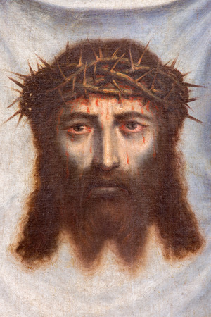 jesus christ crown of thorns: GRANADA, SPAIN - MAY 31, 2015: The face of Jesus Christ paint as the detail of pant Santa Faz  in Monasterio de la Cartuja in Sala de San Pedro i San Pablo by Fray Juan Sanchez Cotan (156 - 1627).