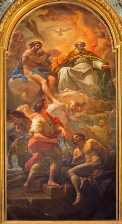 holy  symbol: ROMA, Italia - 25 de marzo 2015: La pintura de la Santísima Trinidad y la liberación de un esclavo de Corrado Giaquinto de la iglesia Chiesa della Santissima Trinità degli Spanoli - orden trinitaria. Editorial