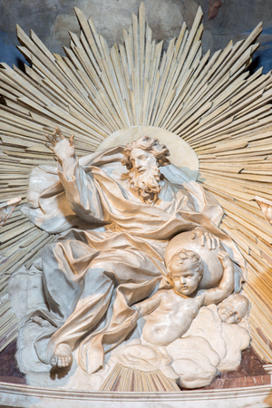 bible altar: ROME, ITALY - MARCH 26, 2015: The marble sculpture of God the Father in Thomas of Villanova  side chapel by Melchiorre Caffa (1635 - 1667) in church in Basilica di Sant Agostino (Augustine). Editorial