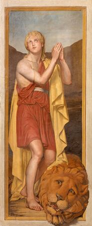jewry: ROME, ITALY - MARCH 25, 2015: The fresco of young king David by Paolo Cespedes from year 1571 in church Chiesa della Trinita dei Monti and Chapel of the Deposition.