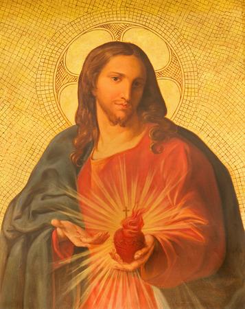Jezus: Rzym, Włochy - 25 marca 2015: Farba Serca Jezusa na ołtarz boczny w kościele bazyliki dei Santi Apostoli XII przez nieznanego malarza z 19. procent. Publikacyjne