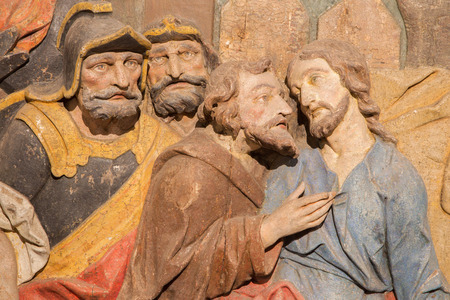 calvary: BANSKA STIAVNICA, SLOVAKIA - FEBRUARY 5, 2015: The detail of carved relief of Betrayal of Judas as the part of baroque Calvary from years 1744 - 1751.