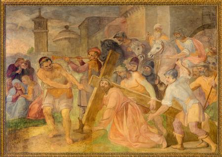 affiliation: ROME, ITALY - MARCH 25, 2015: The Fall of Jesus under cross fresco in church Chiesa San Marcello al Corso by Paolo Baldini (1600) Editorial