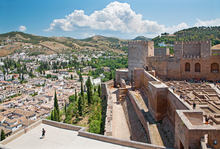 granada: Granada - The outlook over the Albayzin district from Alhambra fortress.