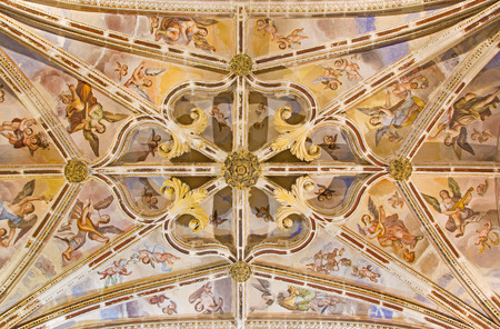 nave: GRANADA, SPAIN - MAY 29, 2015: The gothic ceiling with the frescoes of back part of nave in the church Monasterio de San Jeronimo.