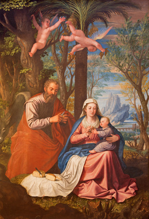 holy family: GRANADA, SPAIN - MAY 31, 2015: The Holy Family painting in main nave of church Monasterio de la Cartuja  by Fray Juan Sanchez Cotan (1560 - 1627). Editorial