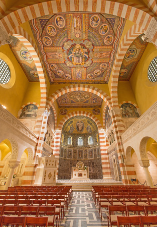 church interior: Jerusalem - The nave of The Evangelical Lutheran Church of Ascension on The Mount of Olives. Editorial