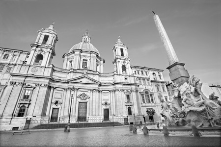 bernini: Rome - Piazza Navona in morning and Fontana dei Fiumi by Bernini and Egypts obelisk and Santa Agnese in Agone church
