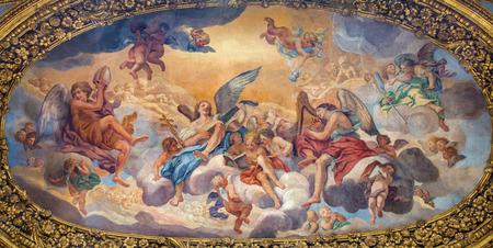 ambulatory: ROME, ITALY - MARCH 25, 2015: The symbolic painting The Glory of the Angels by Luigi Garzi (17. cent.) in ambulatory of baroque church Basilica dei Santi Ambrogio e Carlo al Corso.